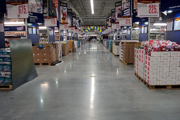 полы в гипермаркетах